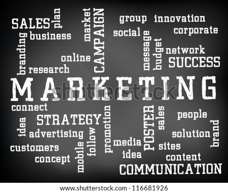 Conceptual marketing word cloud written on black chalkboard and white chalk. Presentation template. Vector Illustration. - stock vector