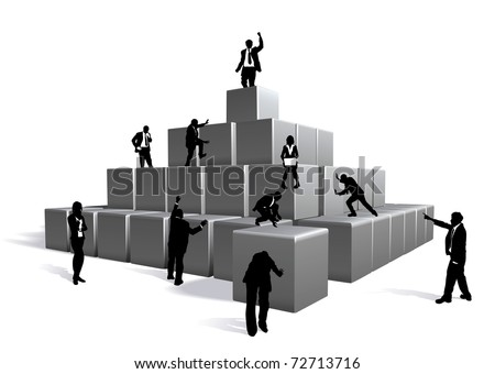 Conceptual piece. Business people building with blocks - stock vector