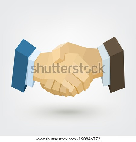 Conceptual polygonal businessman handshake. Background for business and finance concept. Trusted partnership. Vector Illustration, low poly style design element for poster, flyer, cover, brochure. - stock vector