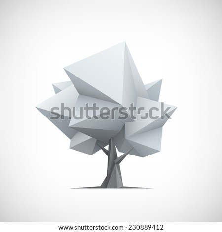 Conceptual polygonal tree. Abstract vector Illustration, 3d low poly style. Stylized design element. Background design for poster, flyer, cover, brochure. Logo design. - stock vector