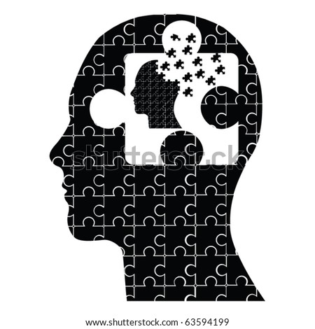 conceptual puzzle head man vector - stock vector