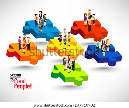 conceptual puzzle with a lot of people icon vector design - stock vector