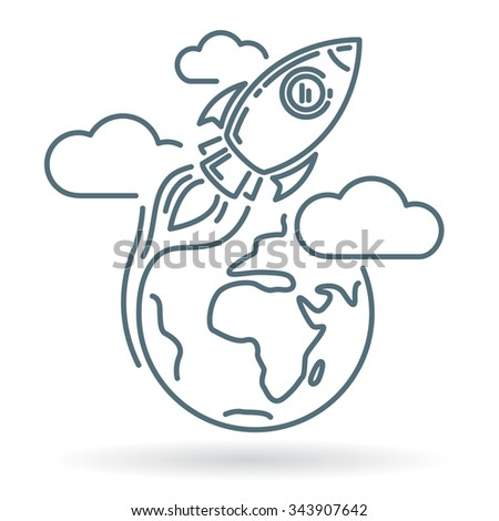 Conceptual rocket orbit earth icon. Rocket orbit earth sign. Rocket orbit earth symbol. Thin line icon on white background. Vector illustration of rocket orbiting earth with clouds. - stock vector