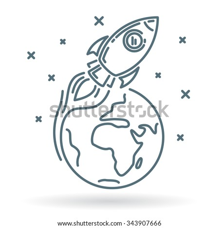 Conceptual rocket orbit earth icon. Rocket orbit earth sign. Rocket orbit earth symbol. Thin line icon on white background. Vector illustration of rocket orbiting earth in space with stars. - stock vector