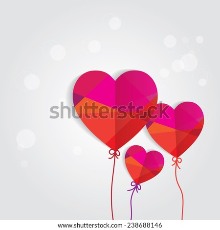 conceptual romantic card with colorful heart shaped papers as balloons- family, love, affection - stock vector