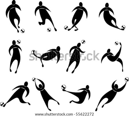 conceptual set of football icon. eps8. each silhouette grouped separately