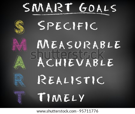 Conceptual SMART Goals acronym on black chalkboard (Specific, Measurable, Achievable, Realistic, Timely) - vector illustration - stock vector