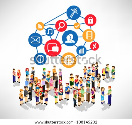 conceptual social networking and people icon vector design - stock vector
