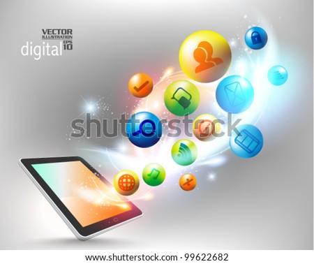 conceptual social networking graphic design - stock vector