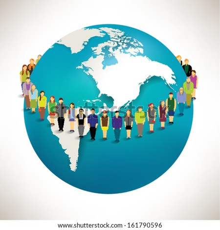 Conceptual social networking people with globe vector design - stock vector