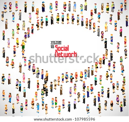 conceptual social networking with people icon vector design - stock vector