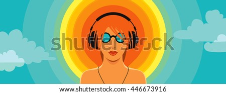 Conceptual summer music vector; man listening to the music in headphones, standing in front of the sun as a vinyl record against cloudy sky background.