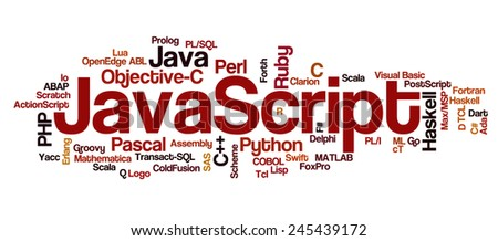 Conceptual tag cloud containing names of programming languages, Javascript emphasized, related to web and software development and engineering, programing, coding, computing and software applications. - stock vector