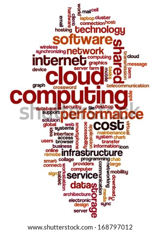 Conceptual tag cloud containing words related to cloud computing, computer performance, storage, networking, mobility, software other ICT related terms