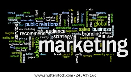 Conceptual tag cloud containing words related to marketing, business, advertising, social media, blogs, social networks and Internet. - stock vector