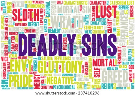 Conceptual tag cloud containing words related to seven deadly sins: pride, sloth, wrath, envy, lust, gluttony and greed in shape of a rectangle - stock vector