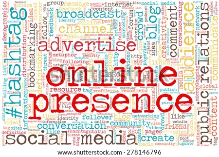 """Conceptual tag cloud containing words related to social media, marketing, blogs, social networks and Internet. Words """"online presence"""" emphasized. - stock vector"""