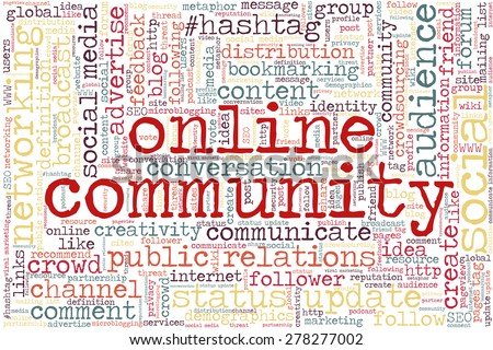 """Conceptual tag cloud containing words related to social media, marketing, blogs, social networks and Internet. Words """"Online community"""" emphasized. - stock vector"""