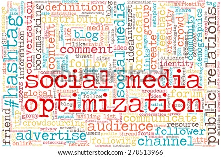 "Conceptual tag cloud containing words related to social media, marketing, blogs, social networks and Internet. Words ""social media optimization"" emphasized. - stock vector"