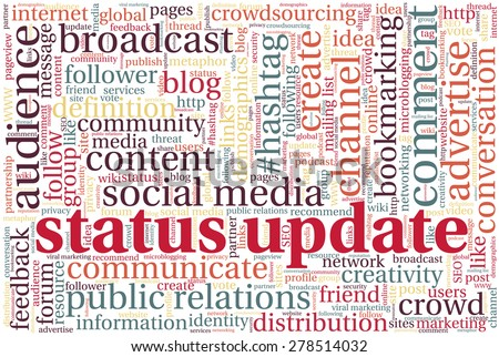 """Conceptual tag cloud containing words related to social media, marketing, blogs, social networks and Internet. Words """"Status update"""" emphasized. - stock vector"""