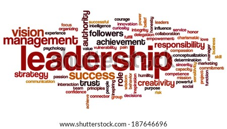 Conceptual  tag cloud containing words related to strategy, leadership, business, innovation, success.