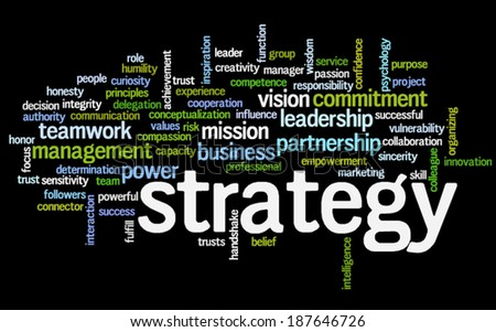 Conceptual  tag cloud containing words related to strategy, leadership, business, innovation, success.  - stock vector