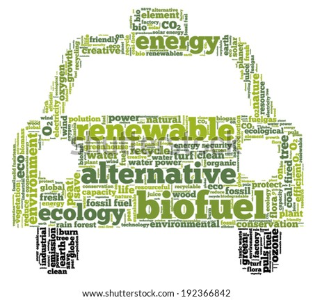 Conceptual tag cloud in the shape of the car containing words related to biofuel, ecology, environment, pollution, renewable resources, recycling, conservation, efficiency... - stock vector