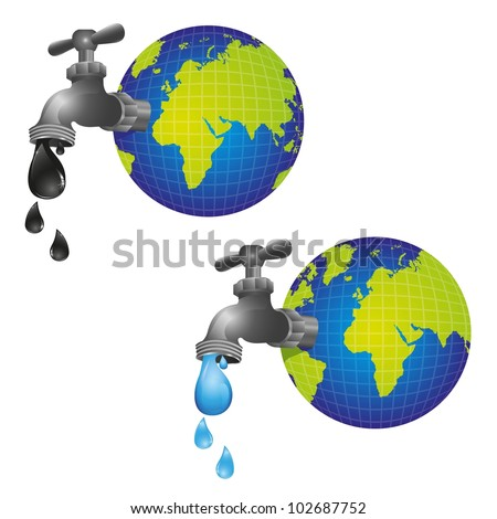 conceptual taps out of the planet earth and dripping, vector illustration - stock vector