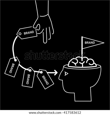 Conceptual vector branding marketing strategy icon of hand repeatedly sending brand in to customer mind or in to brain in his open head | flat design business linear illustration and infographic - stock vector