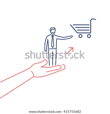 Conceptual vector icon of pull marketing communication and strategy with hand pulling happy customer to shopping basket | flat business linear illustration infographic blue and red on white background - stock vector