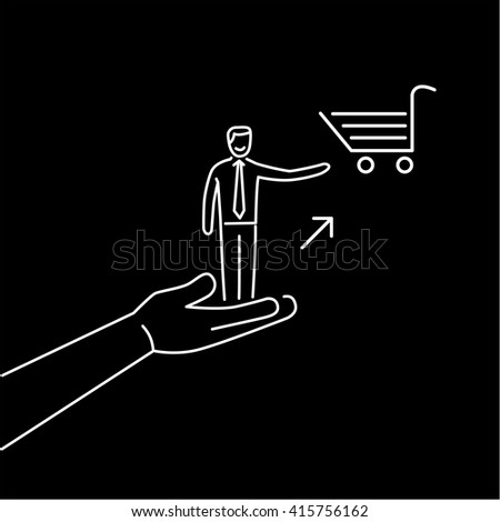 Conceptual vector icon of pull marketing communication and strategy with hand pulling happy customer to shopping basket | flat design business linear illustration infographic white on black background - stock vector