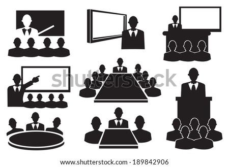 Conceptual vector illustration. Black and white icons for business meeting. - stock vector