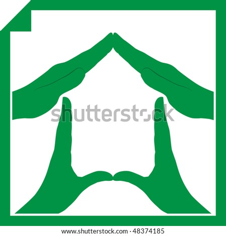 Conceptual vector illustration of a house symbol made from hands - stock vector