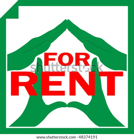 Conceptual vector illustration of a house symbol made from hands with sign FOR RENT overlayed on it - stock vector