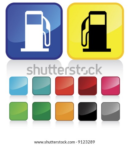 Conceptual vector illustration of gas pump  button web2.0 - check my gallery for more. proposed colors - stock vector