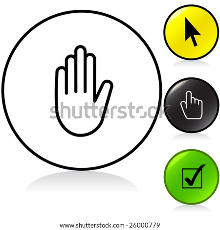Conceptual vector illustration of various hand sign round button. proposed colors - stock vector