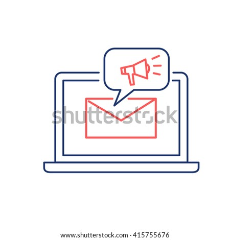 Conceptual vector newsletter icon of marketing communication strategy with megaphone on computer screen | flat design business linear illustration and infographic  red and blue on white background - stock vector