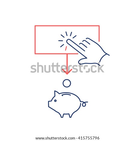 Conceptual vector of ppc campaign pay per click icon with hand tapping on button and coin falling in to piggy money bank |  flat business illustration and infographic red and blue on white background - stock vector