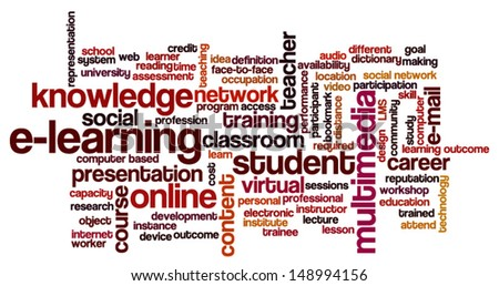 Conceptual vector of  tag cloud containing words related to distance learning, distance education and e-learning. Raster also available. - stock vector