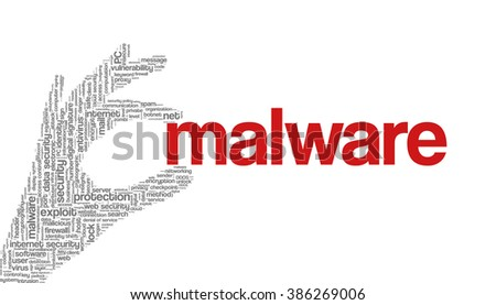 """Conceptual vector of tag cloud containing words related to internet, data, web and network security, data protection, security policy and privacy; in shape of hand holding word """"malware"""" - stock vector"""