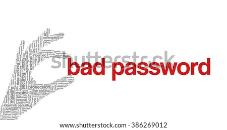 """Conceptual vector of tag cloud containing words related to internet, data, web and network security, data protection, security policy and privacy; in shape of hand holding words """"bad password"""" - stock vector"""