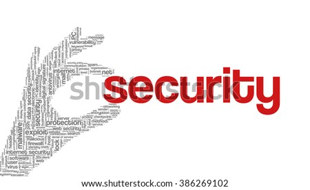 """Conceptual vector of tag cloud containing words related to internet, data, web and network security, data protection, security policy and privacy; in shape of hand holding word """"security"""" - stock vector"""