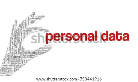 "Conceptual vector of tag cloud containing words related to internet, data, web and network security, data protection, security policy and privacy; in shape of hand holding words ""personal data"""
