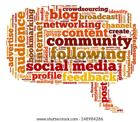 Conceptual vector of tag cloud containing words related to social media, marketing, blogs, social networks and Internet in the shape of the callout, pointing right. Raster also available.