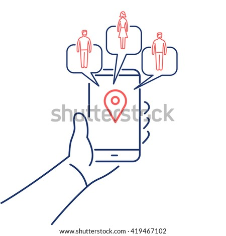 Conceptual vector solomo or social local mobile icon of smartphone in hand communicating with local social people groups. flat design business linear illustration infographic red and blue on white