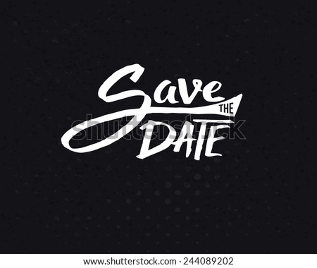 Conceptual White Save the Date Text Design on Abstract Black Background. Vector illustration. - stock vector