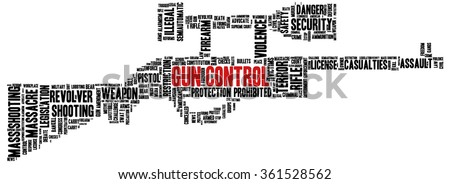 Conceptual word cloud with terms related to gun control, mass shootings and gun control policies, in shape of a rifle - stock vector