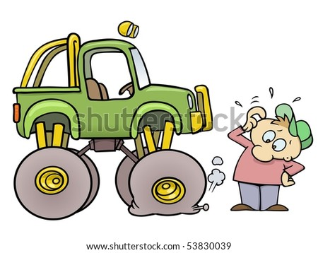 Concerned toon guy scratching his head while looking at his monster truck with a flat tire - stock vector