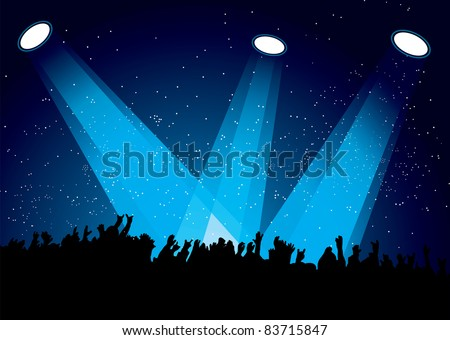 Concert crowd at festival with spotlights night time - stock vector