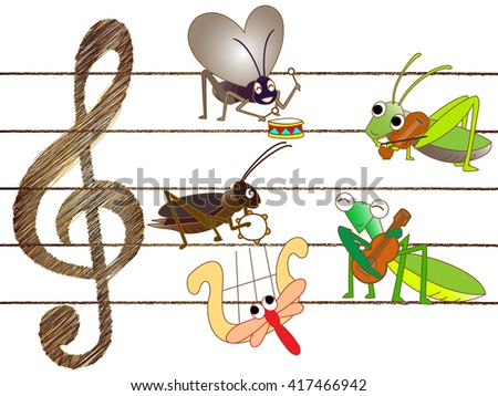 Concert of insects - stock vector